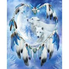 Dream catcher & wolf Round diamond embroidery cross stitch kit printed diy needlework  patterns rhinestones DW235