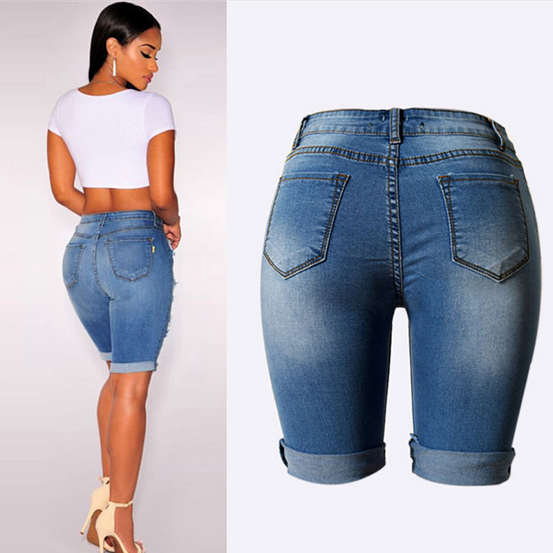 Knee Length Ripped Jeans for Women Holes Plus Size Denim Shorts ...