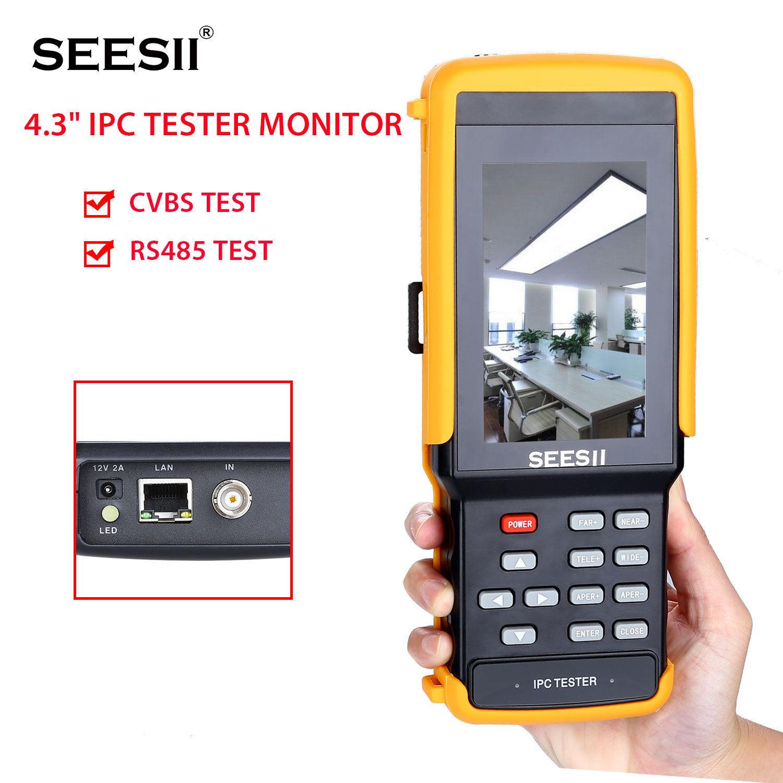 SEESII IPC9300S WIFI 4.3 Tester Monitor 1080P IPS IPC CCTV Camera IP Discovery Portable CVBS PTZ Control Horizontal Vertica 8GB