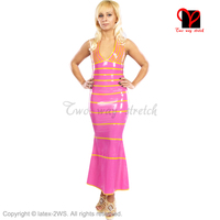 Sexy Pink Latex Gown Rubber swing Dress Floor Length Long Playsuit Bodycon V neck Gummi gown fishtail plunging plus XXXL QZ 025