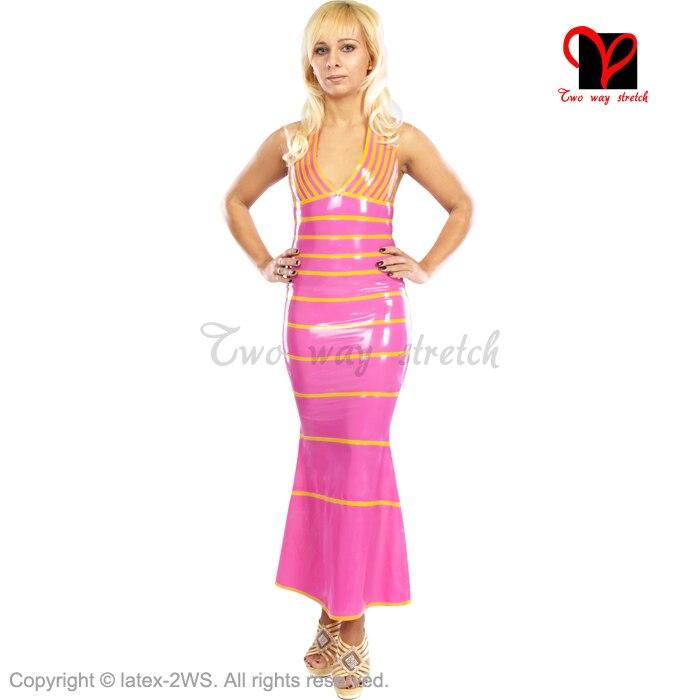 Sexy rose Latex robe caoutchouc balançoire robe longueur de plancher Long combishort moulante col en V Gummi robe queue de poisson plongeant plus XXXL QZ-025