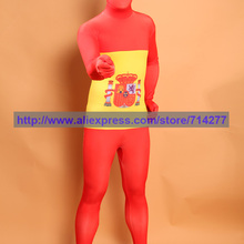 Изготовленный на заказ взрослый узор Испанский флаг унисекс лайкра зентай спандекс костюм Хэллоуин косплей костюм, рождественский подарок