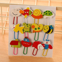 12 Pcs Creative Bookmark Korean Version Painted Wooden Cartoon Paperclip Cute Animal School Office Supplies Stationery