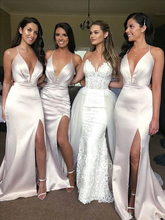Sexy Satin Mermaid Bridesmaid Dresses Deep V Neck Side Slit Criss Cross Back White ivory Boho Gowns