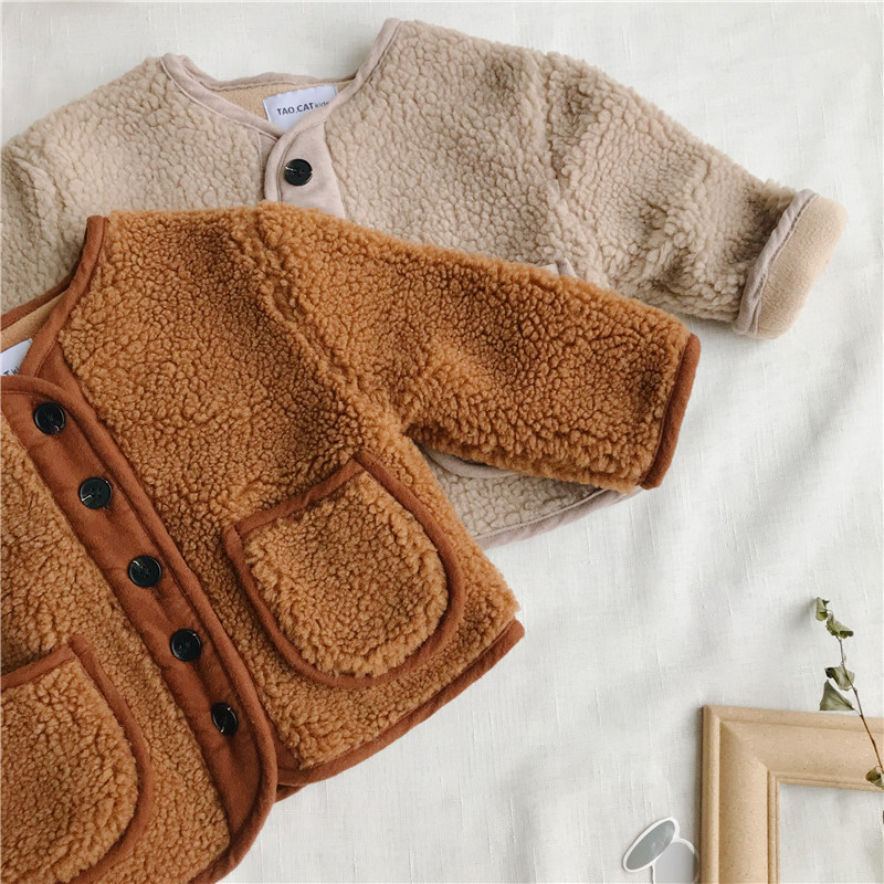 2018 Autumn Winter New Arrival Korean Version pure color woolen warm fashion thickened coat for cute sweet baby girls and boys 2