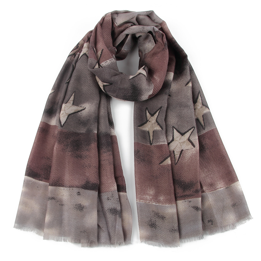 FOXMOTHER New Fashionable Grey Coffee Vintage Star Patchwork   Scarves     Wraps   Foulard Woman