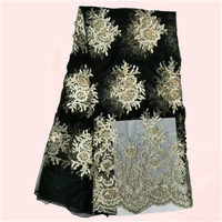 Latest mesh cloth with embroidery African net lace fabric  French lace material with beads for party dress KN29(5yards/lot)