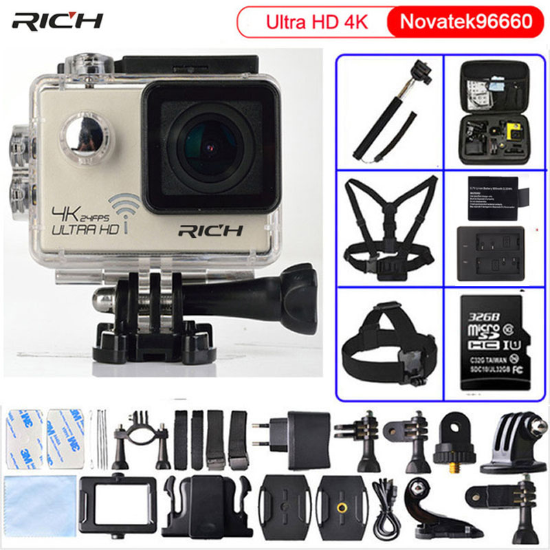 RICH Action camera Ultra HD 4K/24fps WiFi NTK96660 1080P 60fps Diving go pro Style waterproof 30M Sport Camera eken h8 h8r ultra hd 4k 30fps wifi action camera 30m waterproof 12mp 1080p 60fps dvr underwater go helmet extreme pro sport cam
