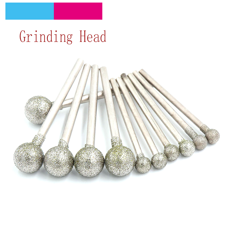 10pcs 2.35/3mm Spherical Diamond Polishing Grinding Head Mounted Points Grinding Bit For Dremel Rotary Tools Needle