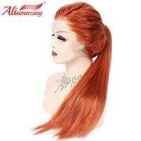 Али удивительные волосы прямые синтетические на кружеве натуральные волосы Искусственные парики 150 плотность предварительно сорвал брази