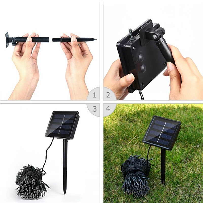 Image 3 - Led Solar String Light Outdoor Waterproof Led Solar Powered Lamp Fairy Lights 7M 12M 22M 32M Holiday Garden Christmas Decoration-in LED String from Lights & Lighting on