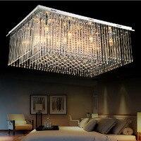 Modern Luxury Large LED Crystal Rectangle Crystal Chandelier Lustre De Crystal Ceiling Lamp Restaurant Home Decorative