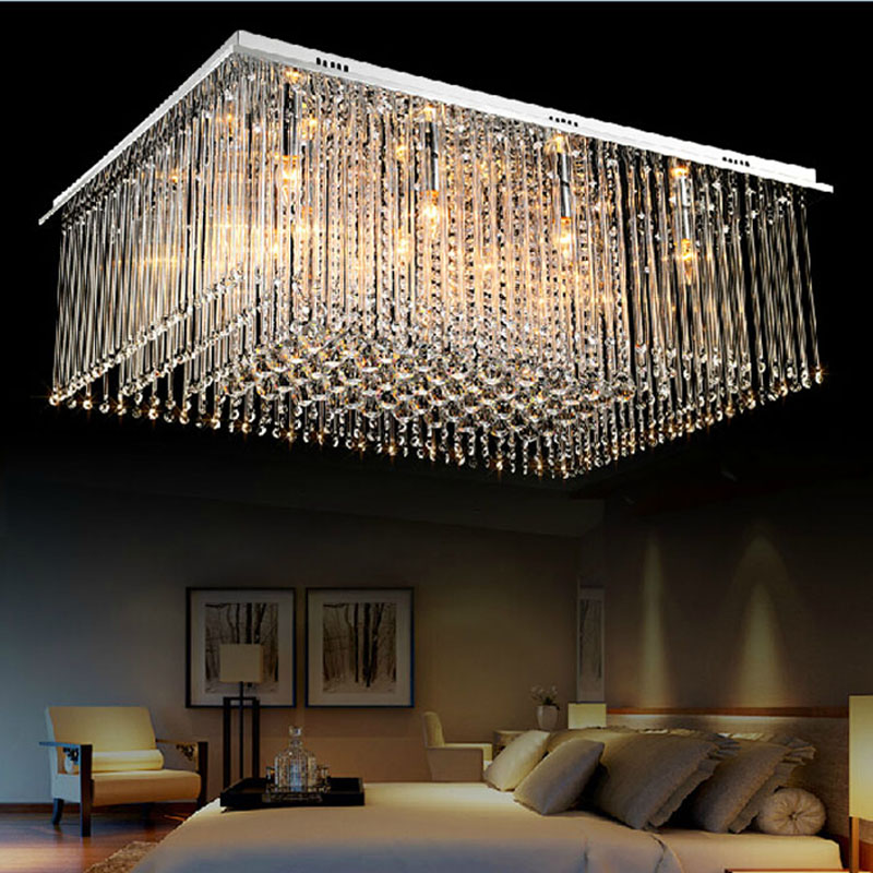 Modern Luxury Large LED Crystal Rectangle Crystal Chandelier Lustre De Crystal Ceiling Lamp Restaurant Home Decorative Fixture zx modern k9 crystal chandelier arched rectangle ceiling lamp led fixture lighting bar light crystal restaurant curtain lights