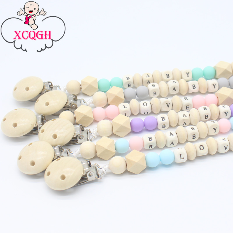 XCQGH Personalized Name Wooden Baby Pacifier Clip Chain Soother Nipple Holder Infant Newborn Feeding Teether Holder