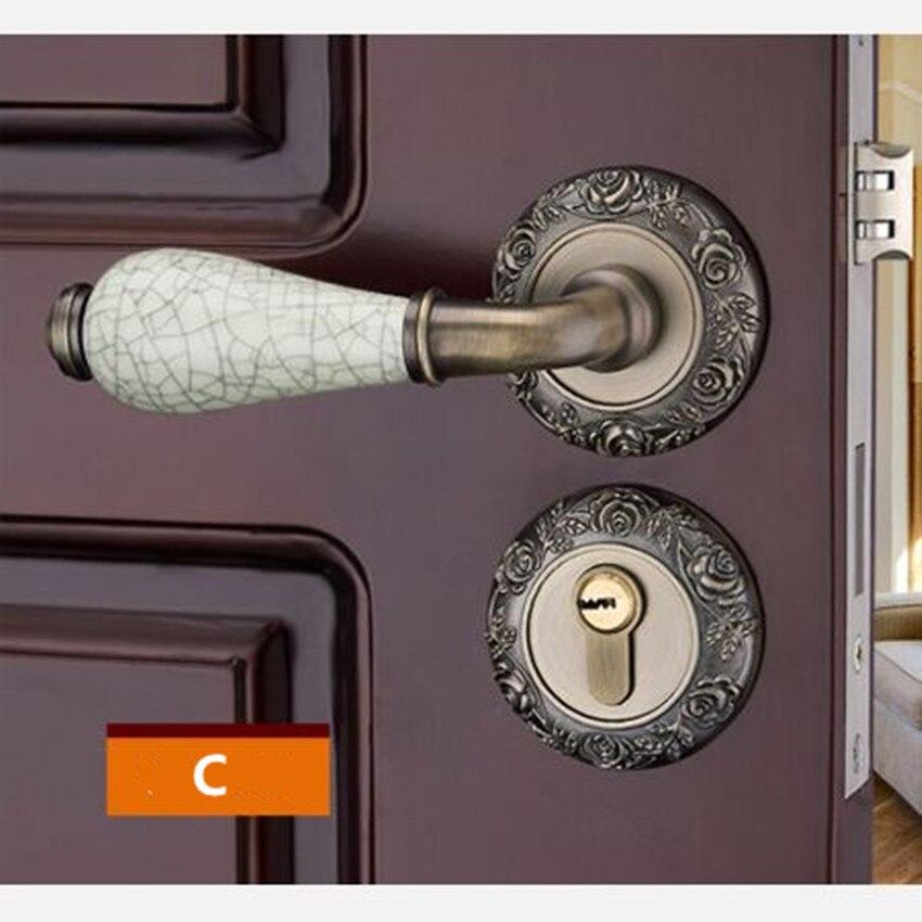 Модный механический замок для межкомнатной двери с Золотой резной розой, бронзовый, слоновой кости, белый, для спальни, кухни, из цельного дерева, для двери, керамический замок с ручкой - Цвет: C locks