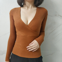 Womens Sweater 2018 Autumn Winter High Elasticity Fashion Sexy V-Neck Sweaters Women Pullover Long Sleeve Soft Woman Top