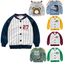 Fashion Kids Autumn Sweatshirt Boys Cartoon Pattern Long Sleeve T-shirt Children Spring Tops Tees Striped Outfit Clothes 2-10Y autumn spring velvet striped soccer letter print baby boys sweat shirt tee kids tshirt children fashion tops boys sweatshirt