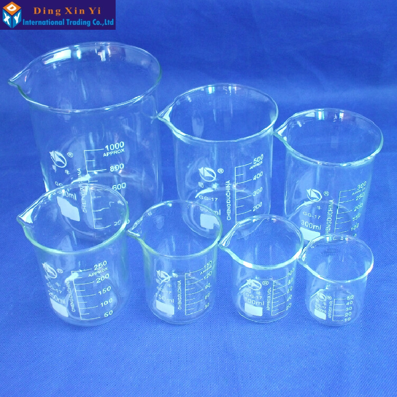 SHUNIU Glass Beaker 7 Pcs Set 50, 100, 150, 250,300,500,1000ml Low form with graduation Glass Chinese famous brand-in Beaker from Office & School Supplies    2