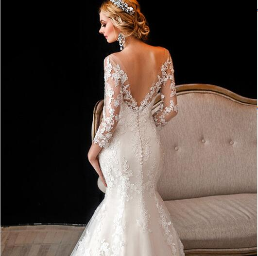 Lace Wedding Dress 2016 Lique Off Shoulder 3 4 Sleeve Mermaid Bridal Gown Open Back Robe De Marriage In Dresses From Weddings Events