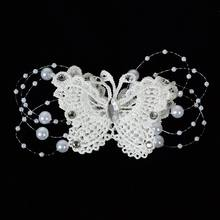Lace Crystal Bead Bridal Jewelry Wedding Handmade Pearl Butterfly Hair Clip Pin Party & Holiday DIY Decorations(China)