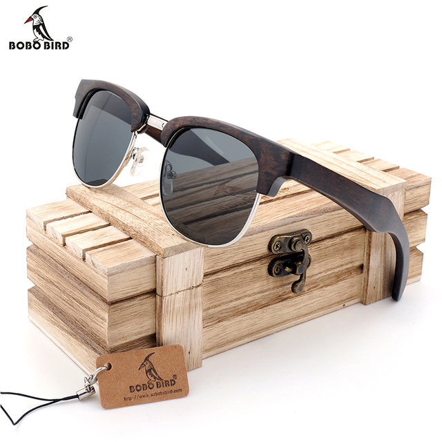 cbe35280c6 BOBO BIRD Vintage Club Semi-Sin Montura gafas de Madera Gafas de Sol  Polarizadas Para