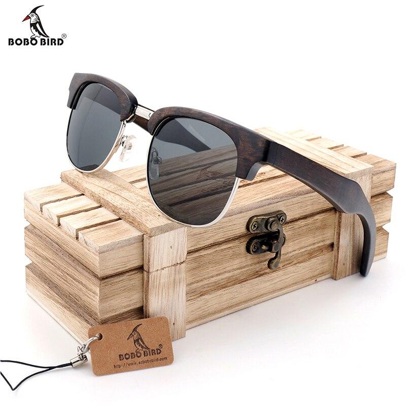 BOBO OISEAU Demi-Cadre Cat Eye lunettes de Soleil Femmes Hommes Lunettes en bois D'été Style plage Lunettes en cadeaux boîte En Bois personnaliser