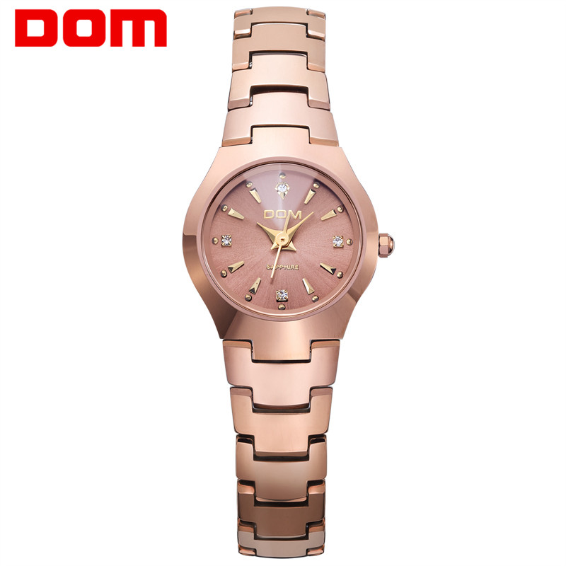 DOM Fashion Watch Women Causal Dress Quartz Watches Gold Silver Waterproof Tungsten Steel Bracelet Watches w398 guanqin fashion women watch gold silver quartz watches waterproof tungsten steel watch women business bracelet gq30018 b