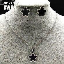 купить Enamel Stainless Steel Sets for Women Flower Earrings Necklace Silver Color Set Jewelry boucles d'oreilles pour les femmes178558 по цене 230.33 рублей
