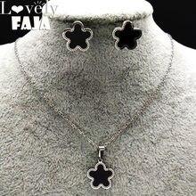 Ensemble de boucles d'oreilles en acier inoxydable pour femmes, émail, boucles d'oreilles, collier, couleur argent, bijoux