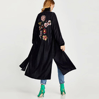 Navy Long Boho women blouse and shirt 2017 autumn winter Beads floral Embroidery blouses Side fork Hippie female long blouses