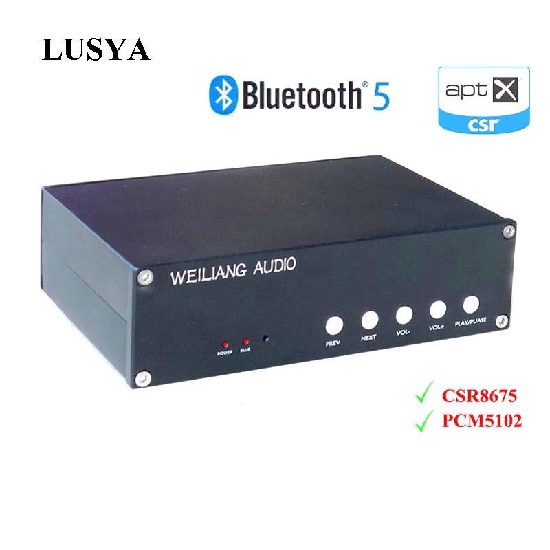 цена на Lusya CSR8675 Bluetooth 5.0 decoding audio Receiver PCM5102A APTX HD DAC decoder with Analog Input