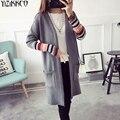 Las mujeres Chaqueta de Punto 2017 Otoño Nueva Moda de Punto Larga A Rayas Cardigans Abrir Stitch Tire Femme Sweter Mujer SZQ153