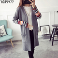 Women Cardigan Sweater 2017 Spring Autumn New Fashion Knitted Long Cardigans Striped Open Stitch Pull Femme Sweter Mujer SZQ153