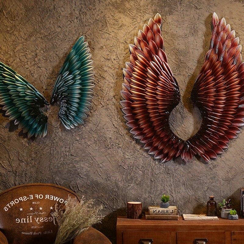 102 см Творческий дом абстрактное настенное украшение ретро крыло Скульптура декоративные фигурки декоративные металлические крылья стату
