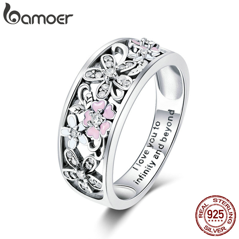 BAMOER Fashion 925 Sterling Silver Daisy Flower & Infinity Love Pave Finger Rings for Women Wedding Engagement Jewelry SCR390
