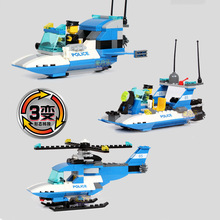 Model building kits compatible with lego Police city Patrol Craft 3D block Educational model building toys hobbies for children