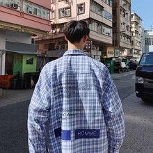 new ins plaid hawaiian shirt men's jacket long-sleeved Korean version loose Hong style leisure camisa Thin Yellow Khaki