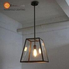 Старинные железа стеклянный ящик подвесной светильник лофт / столовой / дом / коридор / наружного освещения E27 110 — 240 В бесплатная доставка