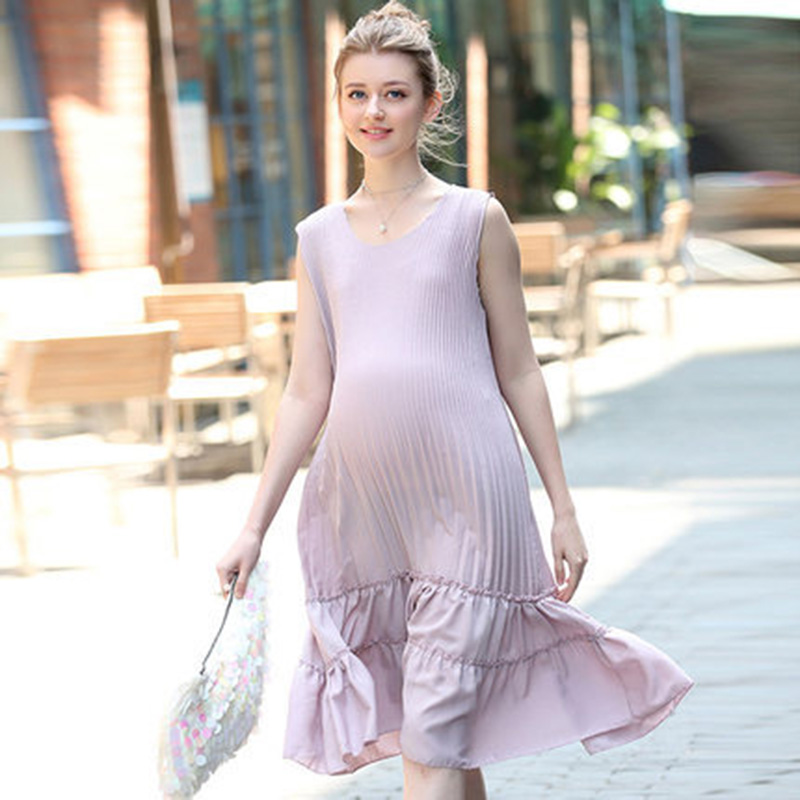 HI BlOOM Fashion Summer O Neck Casual Chiffon Maternity Loose Hem Plus Size Dress Gestante Clothes For Pregnant Women gravidity 2017new brand large size l 5xl pregnant women chiffon dress print half sleeve loose casual cosy maternity clothes vestidos ce962