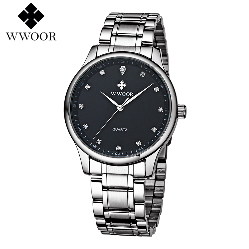 Luxury Watch Men WWOOR Top Brand Stainless Steel Analog Quartz Watch Casual  Famous Brand Mens Watches Clock Relogio Masculino relogio masculino wwoor brand calendar mens quartz watch men casual sports watches male clock luxury stainless steel wrist watch