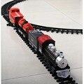 Barato clásico juego de rieles de tren kids toys con sonido y luz eléctrica y vapor de humo realista brinquedo menino