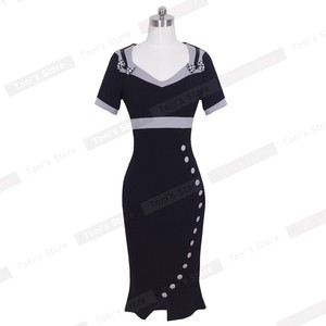 Image 3 - Nice forever Bowknot Female Work Vintage Dress Women Cotton Tunic Black Short Sleeve Formal Mermaid Buttons Wiggle dress b220