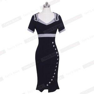 Image 3 - 素敵な永遠のちょう結び女性のワークヴィンテージドレス女性綿チュニック黒半袖フォーマルマーメイドボタンウィグルドレスb220