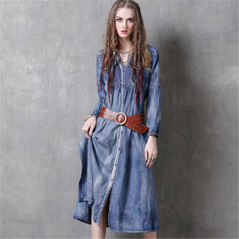 Autumn Fashion Solid Color Denim Dress Women V-Neck Long Sleeve Vintage Blue Jeans Dress Vestidos 2017 New Arrival A3994 rqueena new arrival double v neck bodycon pencil dress 2017 fashion autumn winter women casual long knitted sweater dress women