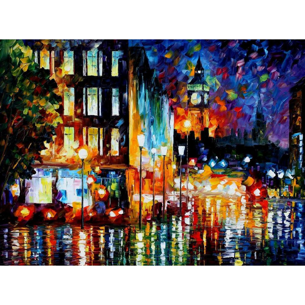 Palette knife oil painting landscape londons lights modern large wall pictures canvas art home decor