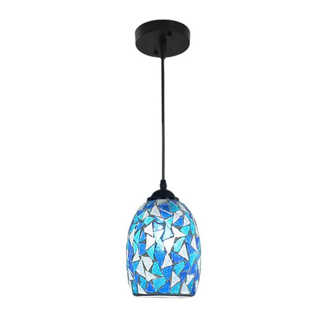 Mediterranean Blue Mosaics Dining Room Pendant Lamps Classic Kitchen - Kitchen pendant lighting blue