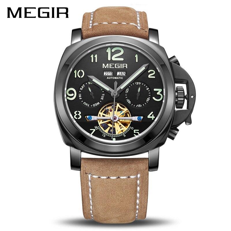 MEGIR Скелет автоматические часы лучший бренд класса люкс для мужчин деловые часы кожа Relogio Masculino для мужчин часы
