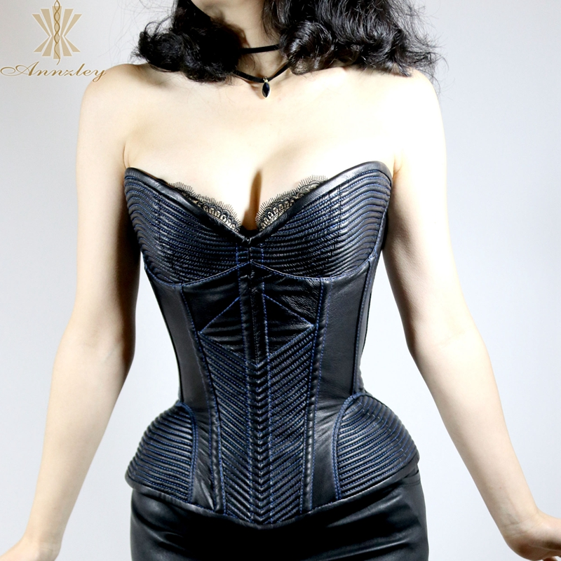 bd06ec8bd5e ... Annzley Top Quality Side Zipper Genuine Leather Steel Boned Overbust  Corset (10) ...