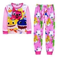 Лето мультфильм детские акула дети мальчик дети с длинными рукавами пижамные комплекты пижамы для маленьких девочек Брендовая женская пиж...