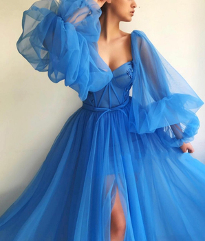 LORIE 2019 Long Puffy Sleeve Blue Prom Dresses Tulle Backless Lacing Evening Gowns Evening Party Gown Robe De Soiree Plus Size 3